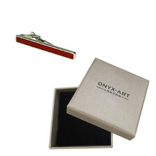 Red Silver Design Fashion Tie Bar In Deluxe Gift Box
