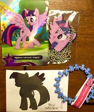 My Little Pony Twilight Sparkle Dog Tag, Bracelet, Trading Card, & Decal Set LOT