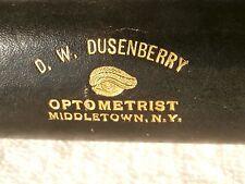 New York: D.W.Dusenberry Optométriste: Noir Cuir Enveloppé Spectacle Étui