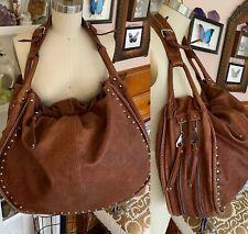Big SUNDANCE Catalog Leather Bag brown Large studded zipper