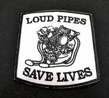 Patch Loud Pipes Save Lives Old School Shovel Motor Vintage Aufnäher Iron On
