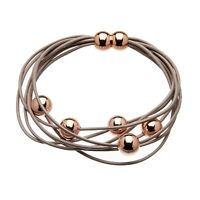 Ladies Bracelet with coffee leather strands and sliding rose gold beads - Rita P