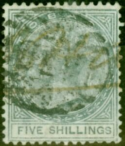 Tobago 1879 5s Slate SG5 Good Used with Additional Manuscript Cancel