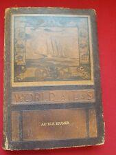 Vintage 1943 Rand McNally World Atlas WWII Era Book Leather Maps History