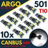T10 CAR WHITE BULBS LED 501 ERROR FREE CANBUS XENON W5W SIDE LIGHT BULB 5 SMD UK