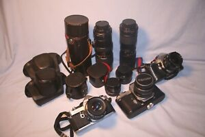 3 PENTAX CAMERAS WITH MISC LENSES SPOTMATIC