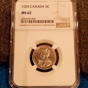 1929 NGC MS62 Canada Five Cents (4925592-002)