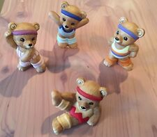 "Vintage Homco # 1448 Set Of 4 Aerobic / Exercise Bears "" 1 Baby Bear w/Toy #1470"