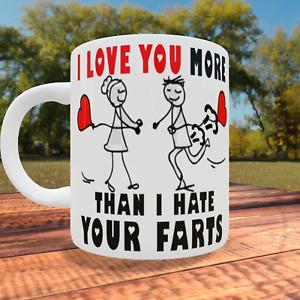 Stickman Love You More Than I Hate Farts Valentine Mug Gift For Him Her Partner