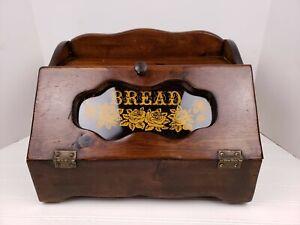 Vintage Wood Wooden Bread Box w/ Flip Top Lid Glass Window Script