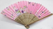 Elegant Chinese Handmade pink SILK BAMBOO FANS