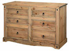 Premium Quality Corona Waxed Solid Mexican Pine Large Wide Chest of 6 Drawers