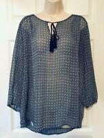 St. John's Bay Women's Blouse Tie Front Semi Sheer 3/4 Sleeve Pullover Top
