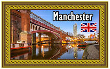 MANCHESTER, UK - SOUVENIR NOVELTY FRIDGE MAGNET - SIGHTS - GIFT - NEW - XMAS