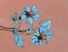 1900's Chinese Kingfisher Feather Hair Pin Hairpin Flowers with Red Beads