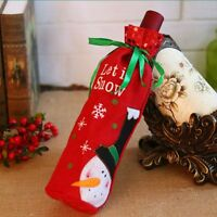 Red Wine Bottle Cover Bags Snowman/Santa Claus Sequins Christmas Decoration