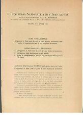 I° CONGRESSO NAZIONALE PER L'IRRIGAZIONE APRILE 1925 AGRICOLTURA