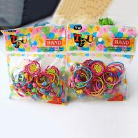 100Pcs/Pack Elastic Rope Kids Baby Hair Ties Ponytail Holder Head Band!