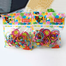 100Pcs Elastic Rope Kids Baby Hair Ties Ponytail Holder Head Band Hairbands Pop^