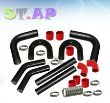 "Universal 2.5"" Turbo Intercooler U Piping Pipe Kit +Coupler+Clamps Black Red Jdm"