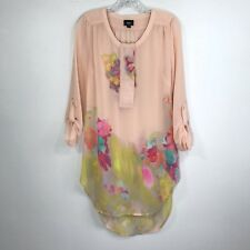 Mossimo Floral Blouse Tunic Dress Half Button Peach Boho Long Sleeve Size S