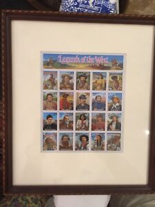 """""""LEGENDS OF THE WEST"""" Stamp Sheet Framed and Matted, Reverse View, Mint!"""