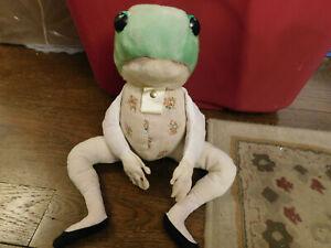 "Vtg 18"" Jeremy Fisher Frog Plush Beatrix Potter Peter Rabbit Eden Felt Hands FUN"
