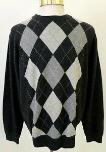 Grayson & Dunn Men's 100% Cashmere Sweater Gray Argyle Diamond Check XL  MINT!