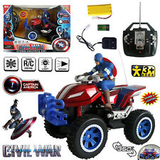 360 SPIN CAPTAIN AMERICA ELECTRIC RC CAR RADIO REMOTE CONTROL 4WD MOTORBIKE TOY