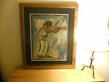 DE GRAZIA original, watercolor, ink & pastel, signed/dated 1952  (Boy w/ Violin)