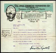 1915 Medical Swiss American Vaporator Co Chicago  Letter Head Rare history