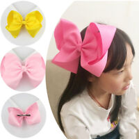 Large Colorful Kids Girls Hair Bow Clips Solid Hairpins Barrette Boutique Favour