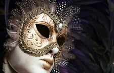 STUNNING VENETIAN CARNIVAL PARTY MASK CANVAS #11 WALL HANGING PICTURE ART A1