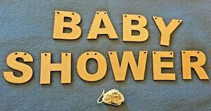 MDF Wooden BABY SHOWER blank unpainted craft letters banner/sign/bunting