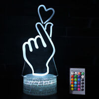 3D Gesture Heart Night Light 7 Color Change Home Table Desk Lamp Decoration Gift