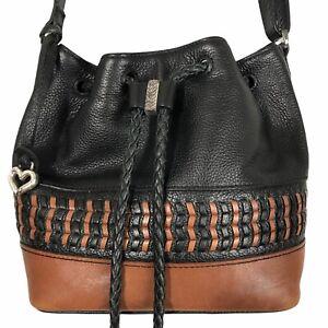 Brighton Drawstring Bag Zola Neema Stitched Two Tone Leather Bucket Crossbody