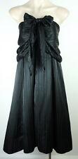 NEW- CISADA BLACK self striped Satin Formal/Wedding DRESS Size12