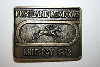 Vintage Portland Meadows 1982 Mile Day Horse Racing Brass Belt Buckle Rare