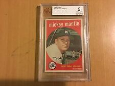 Mickey Mantle - 1959 Topps Baseball Cards #10 BVG Graded 5 Excellent
