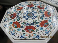 """30"""" Marble Parrot Flower Design Coffee Dining Table Top Exclusive Table Top Art"""