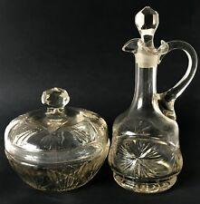 Vintage Pair of Art Deco Cut Glass Bottles Jars for Oil Dressing etc.