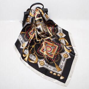 "Fashion Chain Print Black Scarf Women Square Faux Silk Shawl Hijab Wrap 35""*35"""