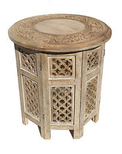 """Round Brown White Hand Carved Indian SHESHAM Wooden Coffee Table Side Natural Small 12""""x12""""x12"""""""
