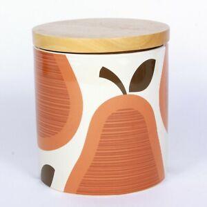 Orla Kiely 2009 Orange Pear Canister 68 fl oz Stoneware Mid Century Modern - B