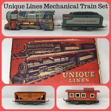 UNIQUE LINES Tinplate Lithographed Mechanical Train Set w/ Track & Box!