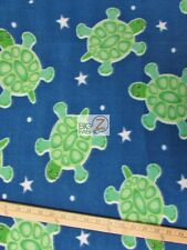 BLUE STAR TURTLES FLEECE PRINTED FABRIC BY THE YARD DIY BABY BLANKET CLOTHING