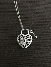 Tiffany & co. Sterling silver filigree heart key charm pendant chain necklace!!