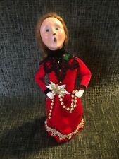 A-20 Byers Choice 13 Inch Figure Woman Victorian Family Red Dress Star