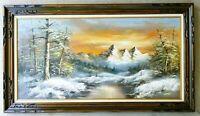 "Vintage Original Oil on Canvas Painting Mountains Forest Landscape Large 24x48"""