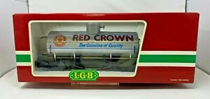 LGB 4180 G SCALE RED CROWN GASOLINE SINGLE DOME TANK CAR LN CONDITION